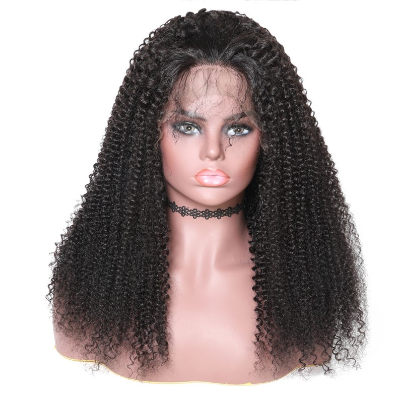 Nadula Kinky Curly Virgin Human Hair Wig Natural Color 360 Lace 150% Density Wigs