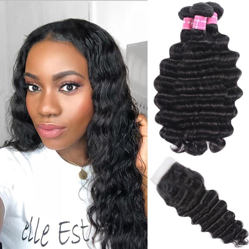 Loose Deep Virgin Hair Weave 3 Bundles With Lace Closure Nadula Soft Unprocessed Virgin Human Hair