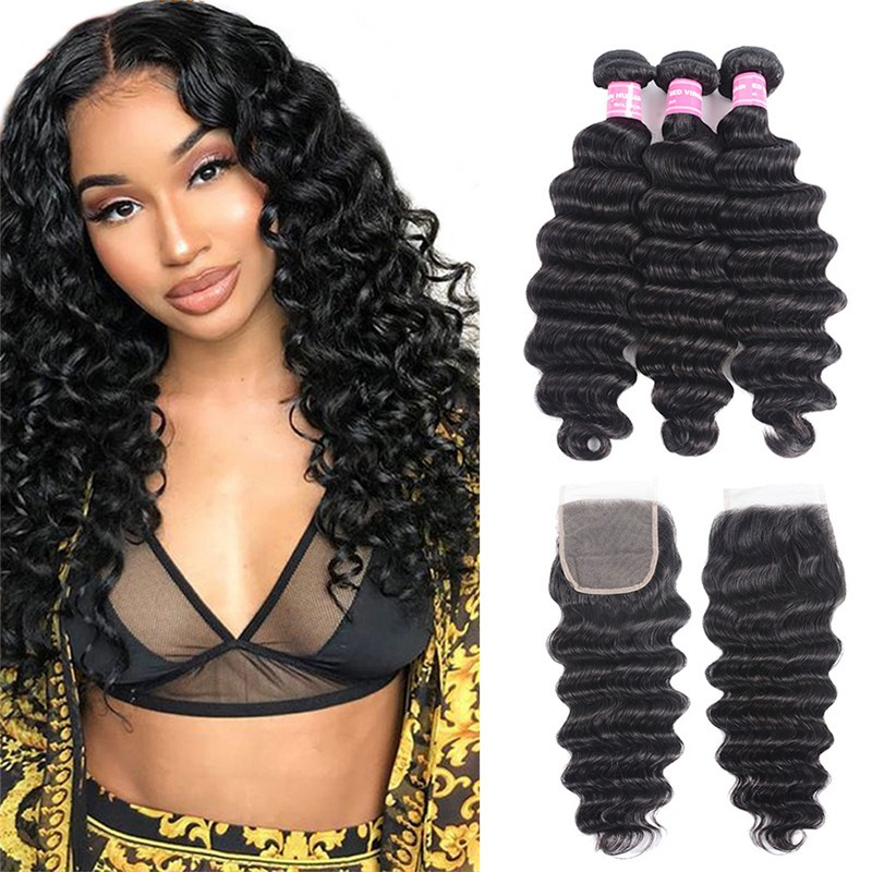 3 Bundles Loose Deep Wave Bundles With 4x4 Lace Closure Nadula Soft Unprocessed Virgin Human Hair