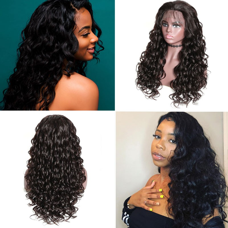 Nadula Mix Curly Wig Lace Front Human Hair Pre Pluck Wigs With Baby Hair 150% Density Long Wigs