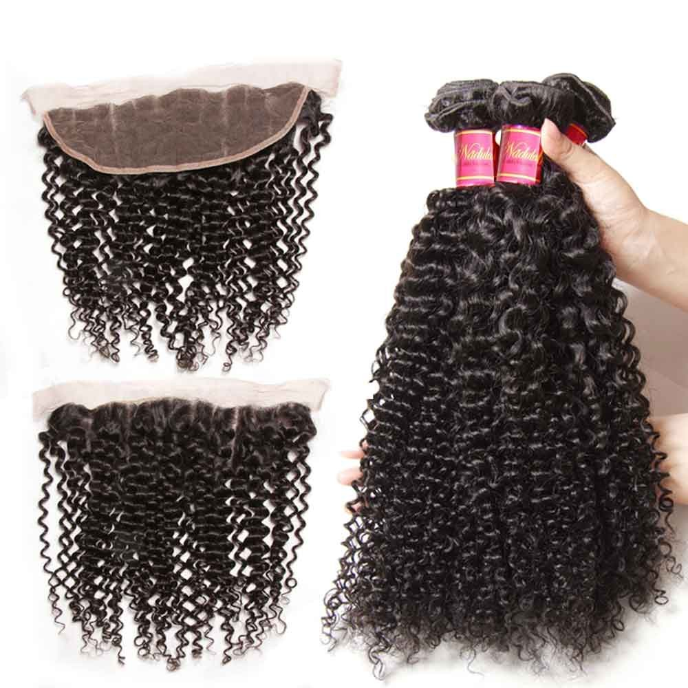 Nadula Wholesale Kinky Curly Hair Weave 3 Bundles With 13x4 Lace Frontal Closure For Short Hair