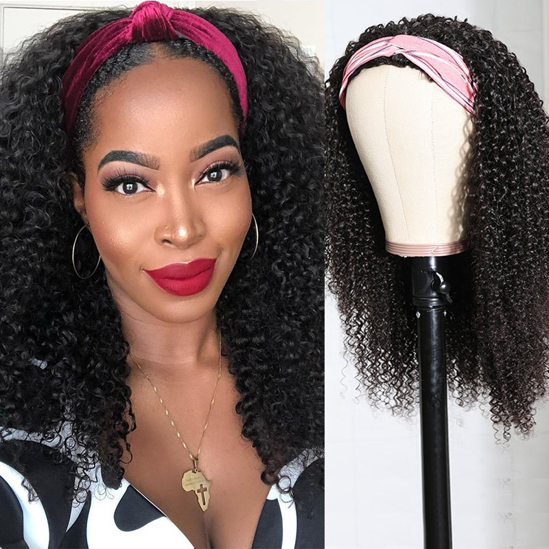 Nadula Afro Curly Human Hair 3/4 Half Wig for Black Women 150% Density Affordable Kinky Curly Wig for Sale