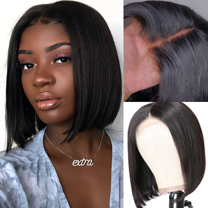 Nadula Straight Short Bob Wig Lace Frontal 150% Density 4×4 Lace Wig Pre Plucked Natural Hairline