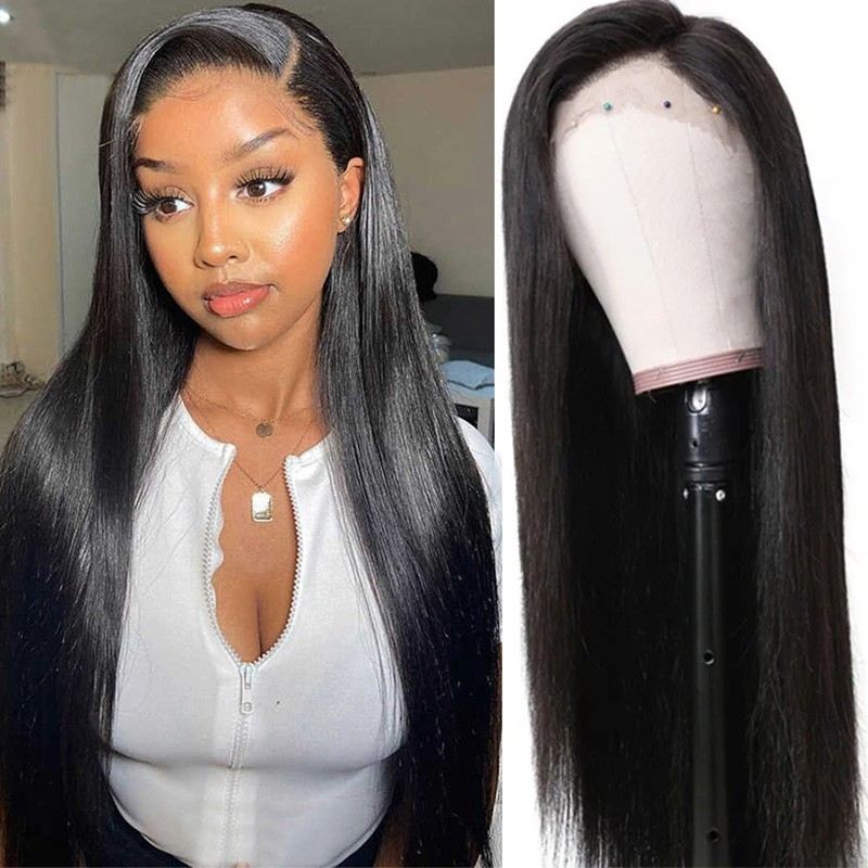Nadula Straight Real Human Hair 13*4 lace front Wig Natural Brazilian Virgin Hair 130% Density Wig