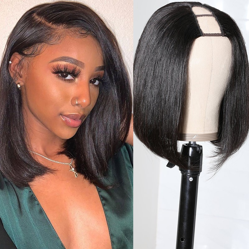 Nadula U Part Bob Wig 150% Density Straight Short U Part Natural Hair Wig Remy Human Hair 8-14 Inch