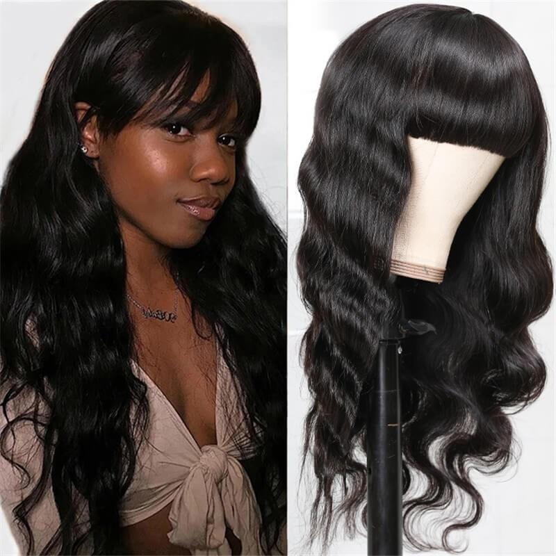 Nadula 100% High-quality Virgin Human Hair Capless Wigs Body Wave Hair With Bangs