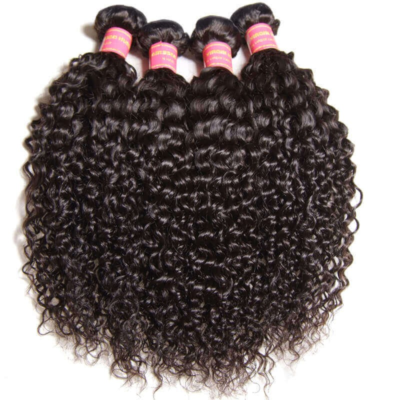 Nadula 4 Bundles Affordable Peruvian Curly Virgin Hair Weave Bundles Thick Virgin Peruvian Human Hair Extensions