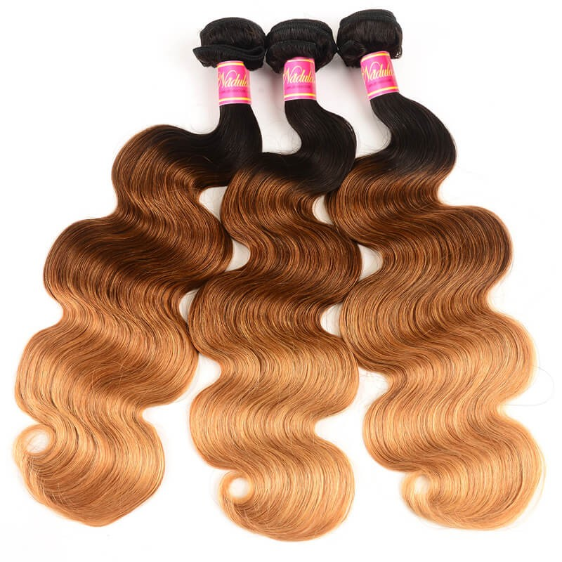 Nadula Body Wave Ombre Hair 3 Bundles 3 Tone Color Human Hair Weave Extensions
