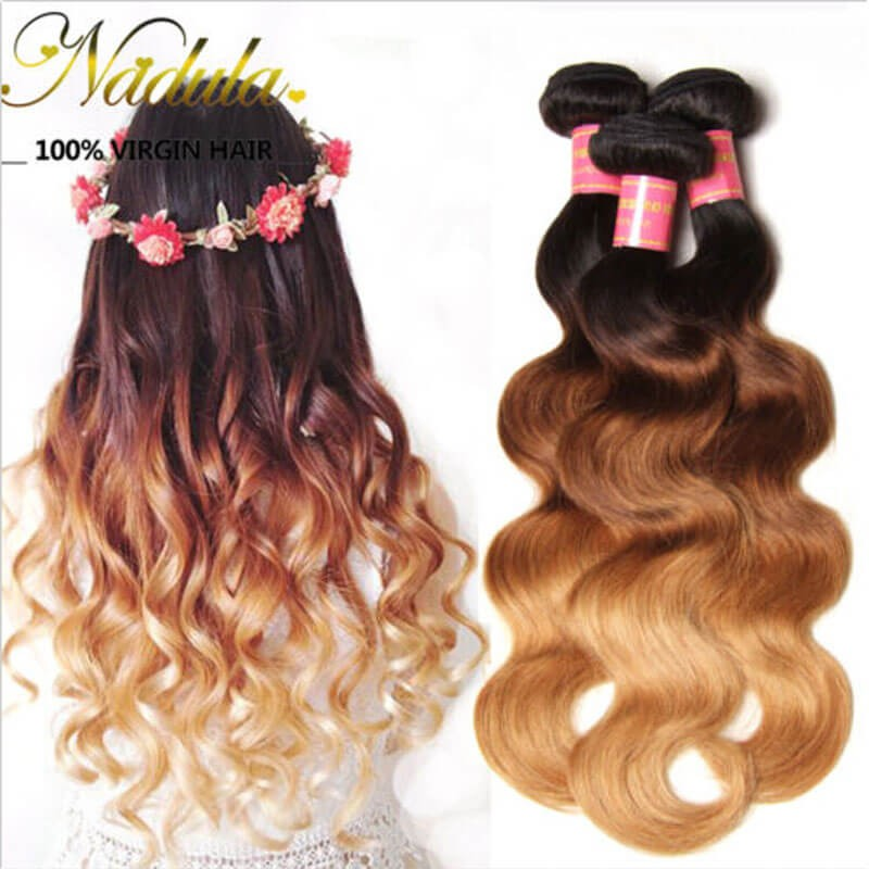 Perfect Remy Human Ombre Hair Weave Of Body Wave And Straight Ombre