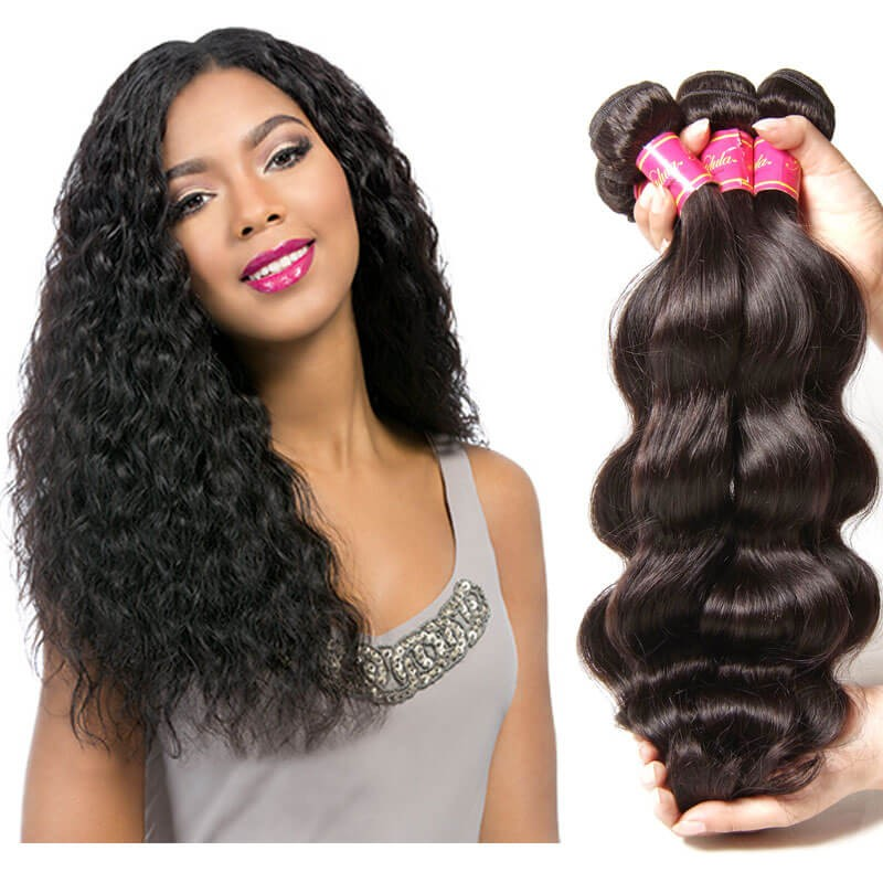 Nadula Affordable Virgin Peruvian Body Wave Hair Weave 4 Bundles Wavy Peruvian Virgin Human Hair Extensions