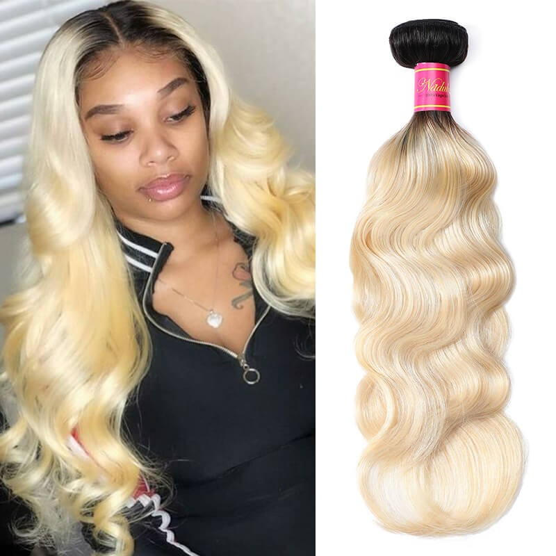 Nadula Hair Body Wave Ombre Hair 1 Bundle 2 Tone Color Human Hair Extensions