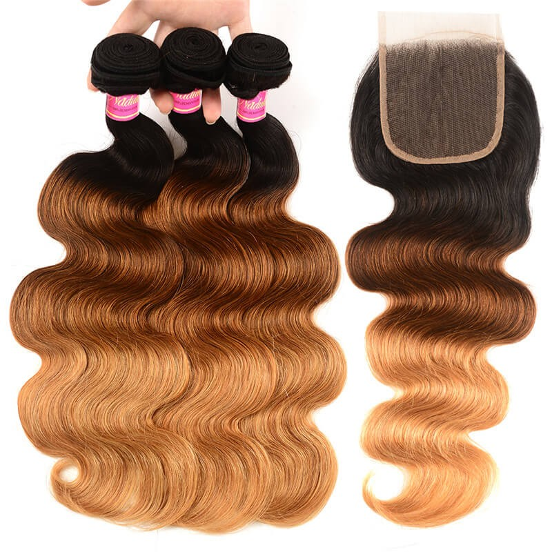 Nadula Hair T1B/4/27 Ombre 3 Bundles Body Wave With Closure 100% Virgin Human Hair