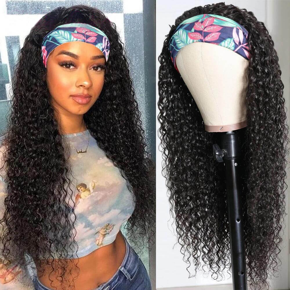 Nadula Jerry Curly Wig Headband Wig Glueless Wig 150% Density Human Hair Wigs Natural Looking