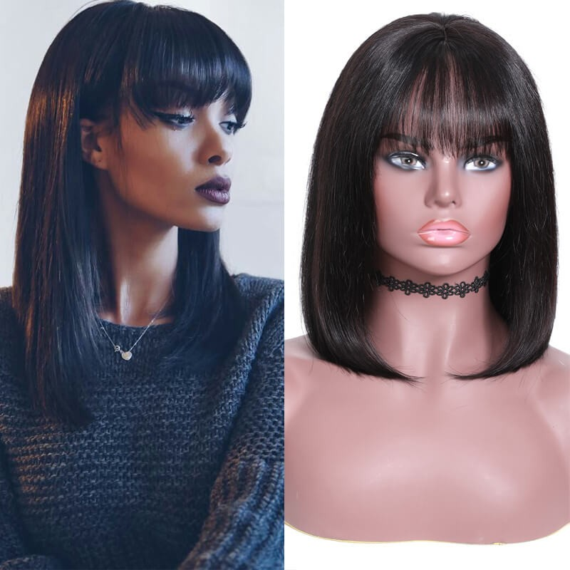 Nadula New Straight Bob Lace Front Wig with Bang