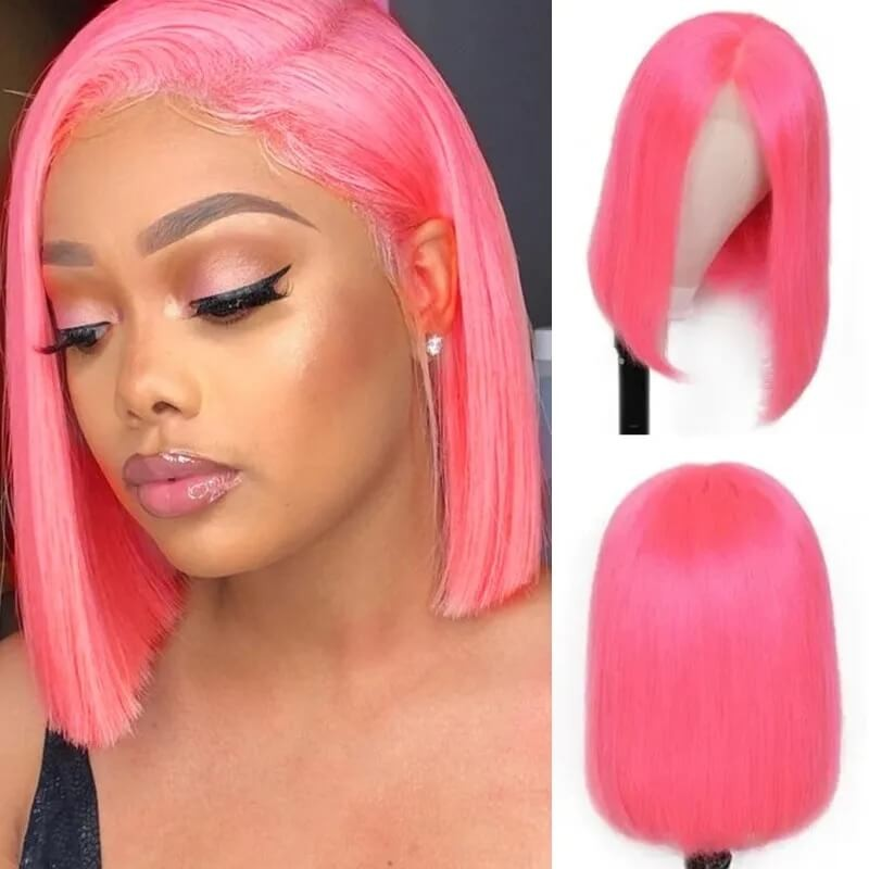 Nadula Pink Bob Wig Remy Hair 13X4 Lace Frontal 150% Density