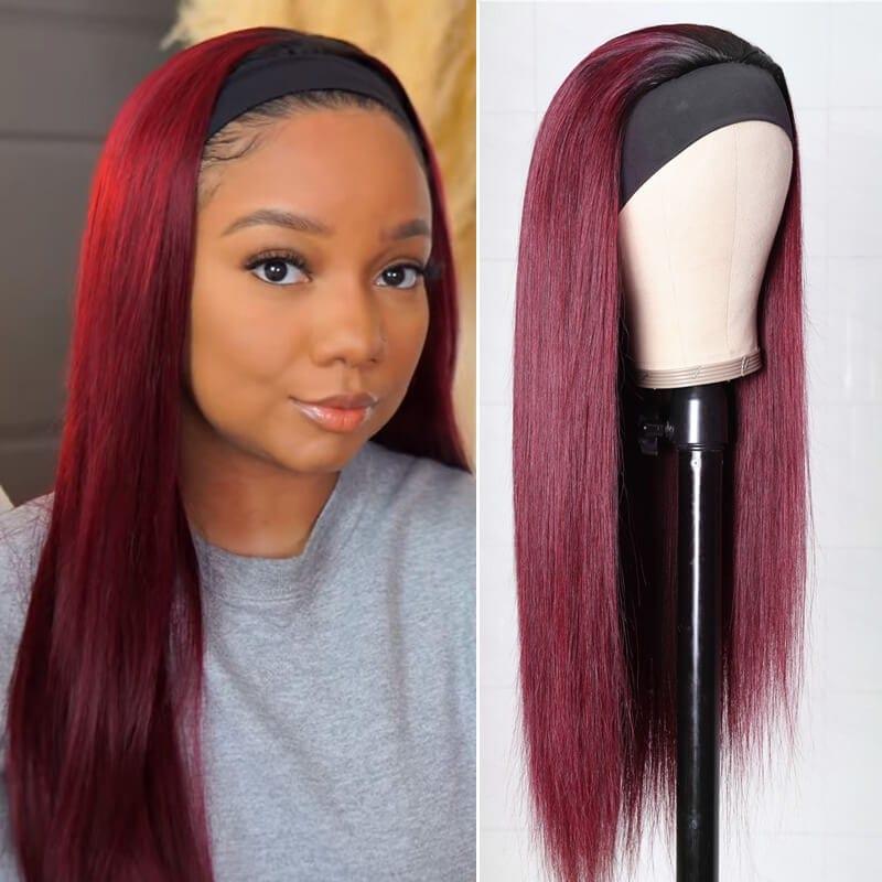 Nadula Straight 99J Burgundy Color Headband Half Wig