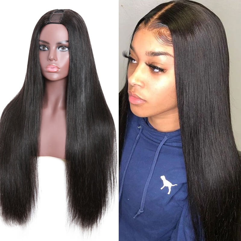 Nadula Straight U Part Wig Classic Virgin Remy Human Hair Straight Wigs With Plastic Net Cap