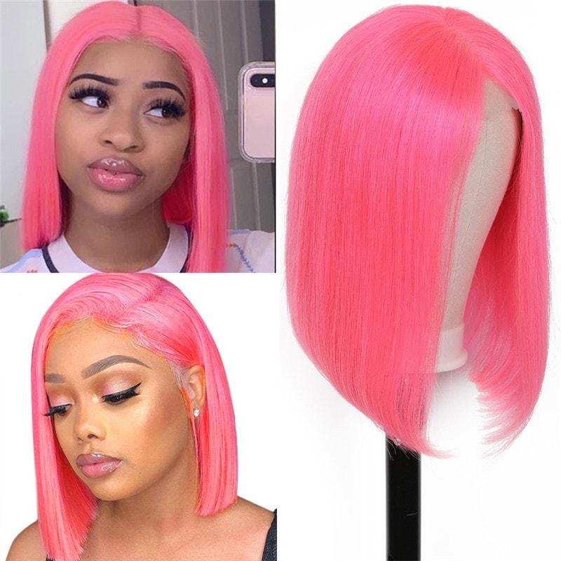 Nadula 130% Density 13X4 Lace Frontal Pink Bob Wigs