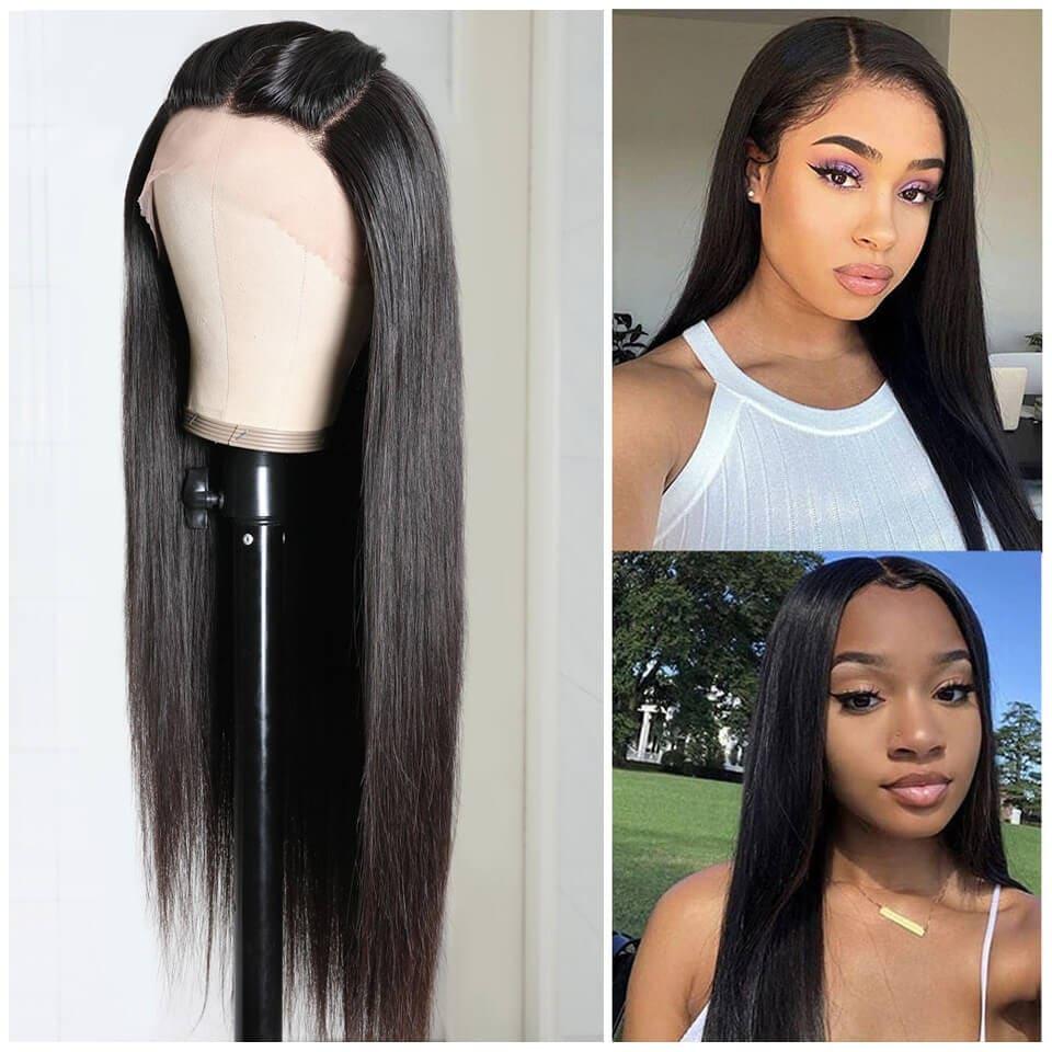 Nadula Virgin Hair Three Part Lace Front Wig Natural Black Straight Three Part Lace Closure Wigs Super Comfortable