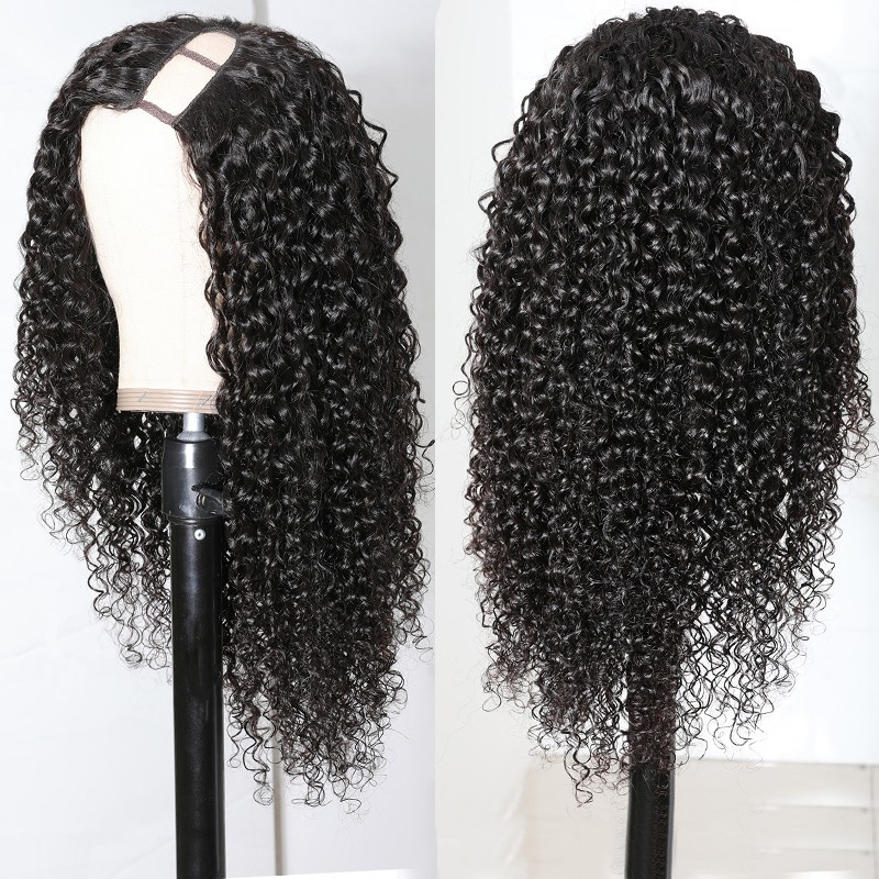 Nadula Wig 100% Virgin Hair Curly U Part Wigs For Black Women Left U Part Wigs