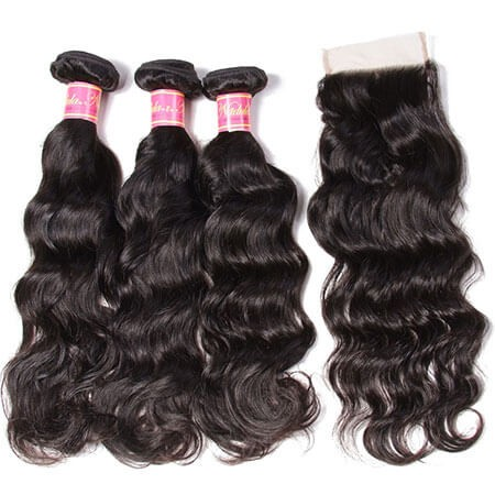 natural wave 3 bundles with closure