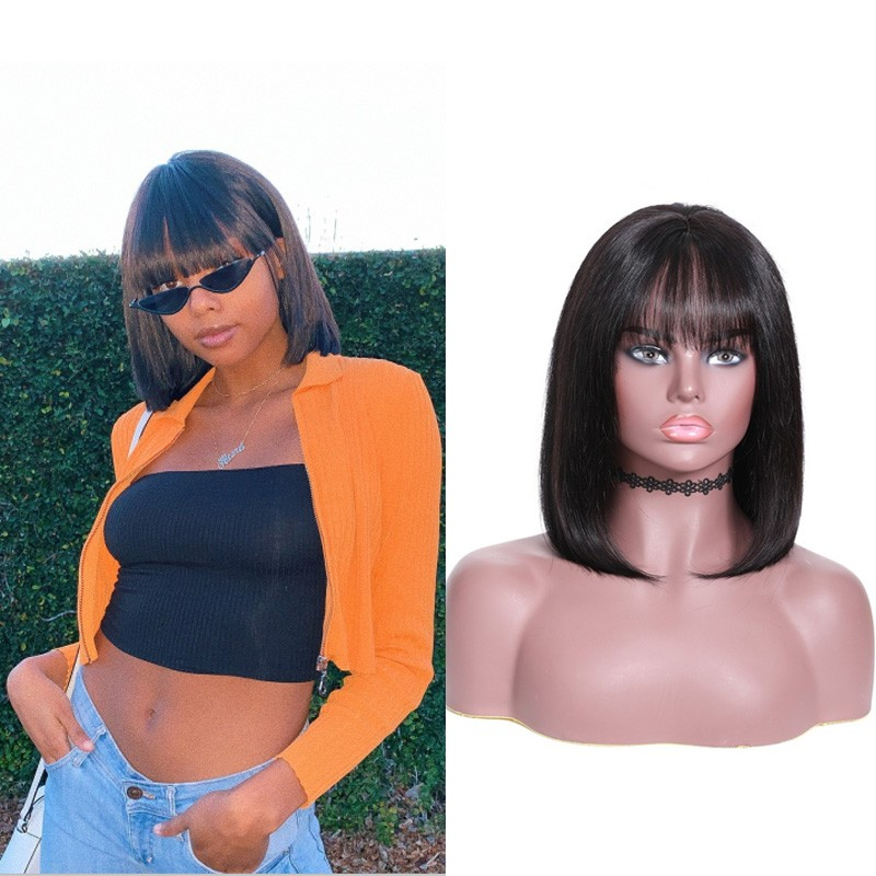 Nadula New Straight Bob Wig with Bang Lace Front 180% Density Wig 100% Human Hair
