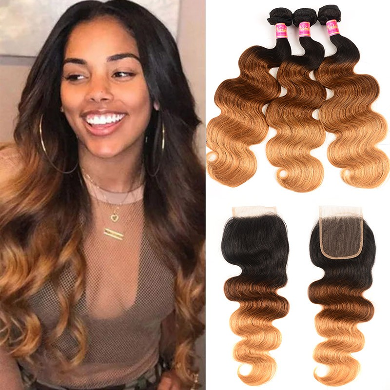 Nadula Hair T1B/4/27 Ombre 3 Bundles Body Wave With Closure