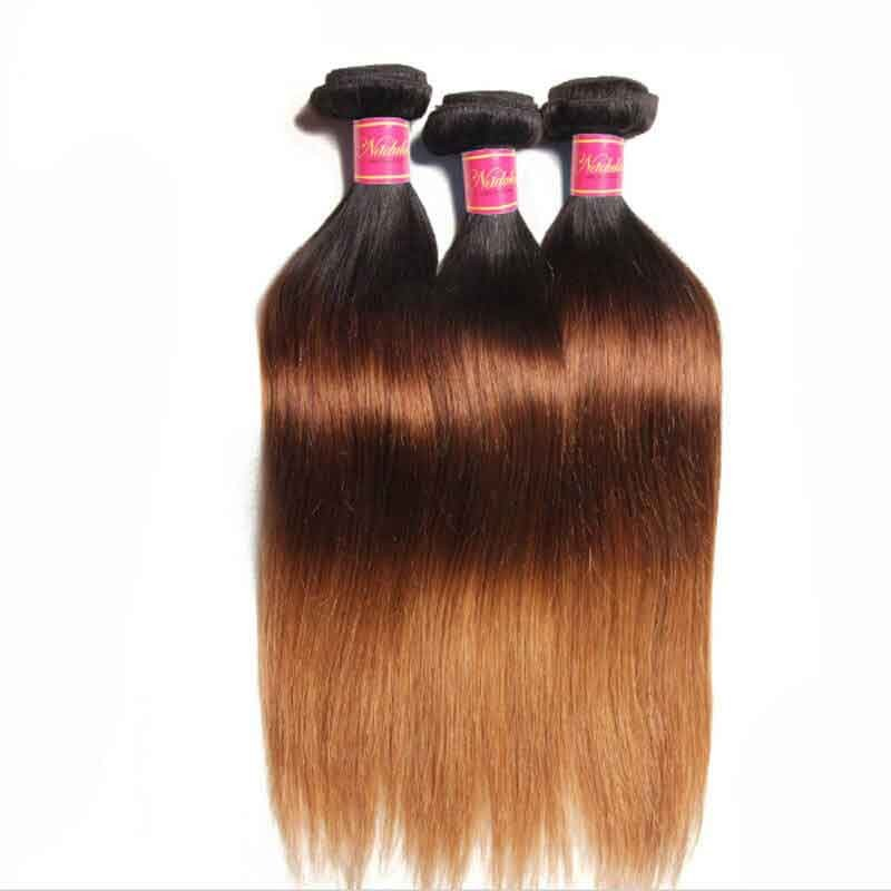 Nadula Affordable Straight Ombre Hair Weave 3 Bundles 3 Tone Color Ombre Human Hair Extensions