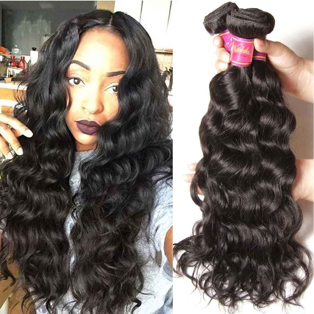 Nadula Affordable Peruvian Virgin Hair 4 Bundles Natural Wave Thick Wavy Peruvian Human Hair Weave