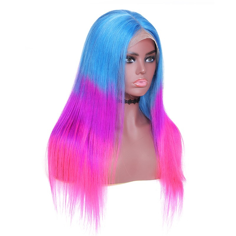 Nadula Remy Hair Colored Blue Purple Pink 150% Density 3 Tone Ombre Hair Lace Front Straight Wig 100% Human Hair Wigs