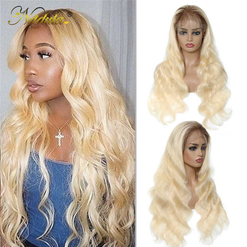 Nadula 360 Lace Front Wig Ombre Colored Body Wave Brown Blonde 150% Density 12-22 Inch Hair