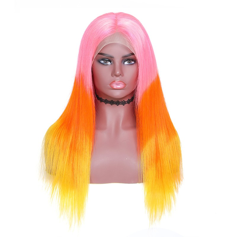 Nadula Remy Hair 3 Tone Ombre Straight Wig Pink Orange Yellow Lace Front Wig 100% Human Hair 130% Density Wigs