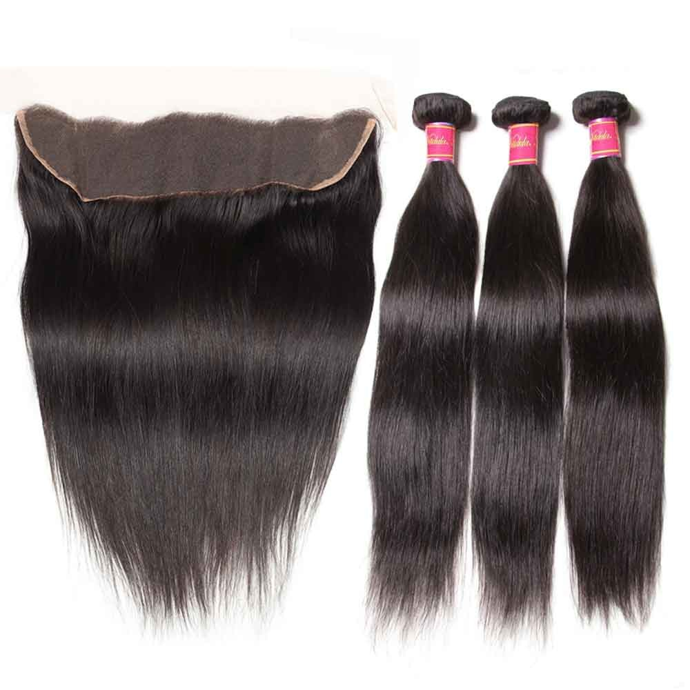 Nadula Straight Virgin Hair Weave 3 Bundles With Lace Frontal Closure 13x4 Ear To Ear