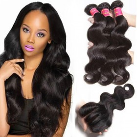 Nadula Body Wave Virgin Hair Weave 3 Bundles With Lace Closure Best Virgin Human Hair