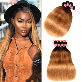 Nadula 4 Bundles Affordable Straight Ombre Hair Weave 3 Tone Color Ombre Human Hair Extensions