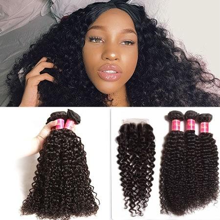 4pcs Curly Hair Bundles With Lace Closure