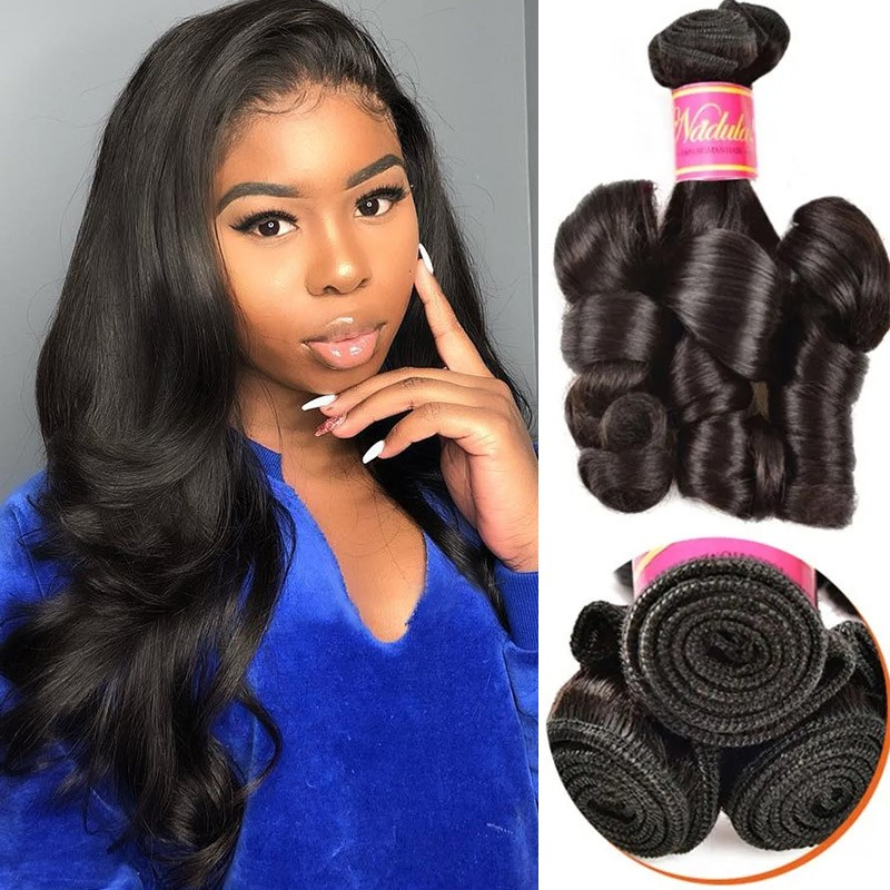 Nadula Funmi Curl Hair Bundle Remy Human Hair Weave Natural Black Good Hair Weave 1 Bundle