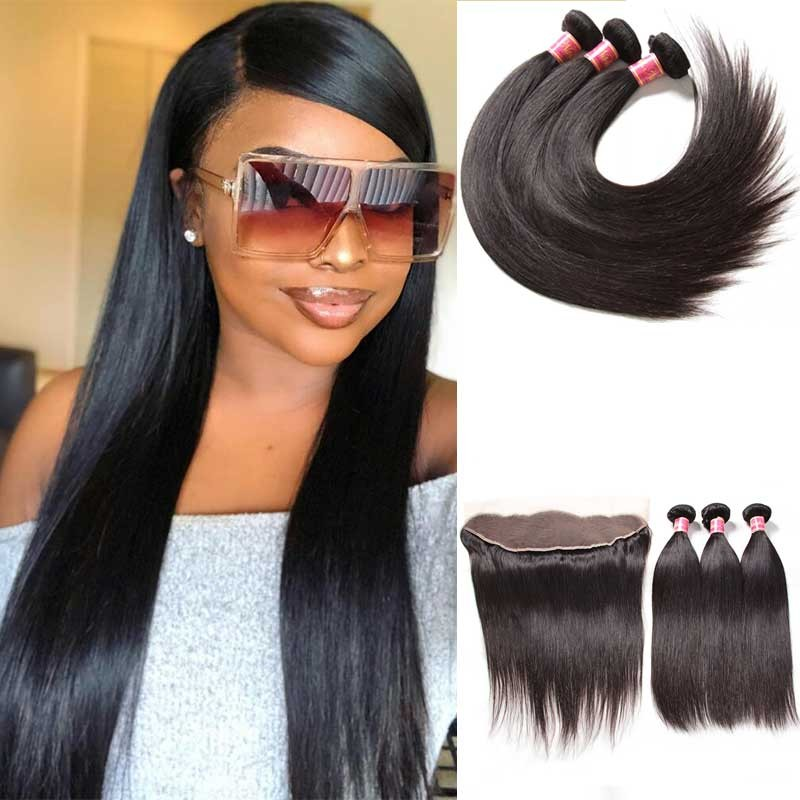 straight hair with frontal