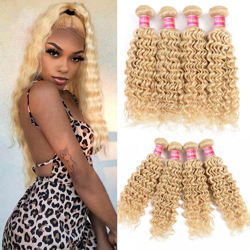 4 Bundles Deep Wave 613 Blonde Colored Hair