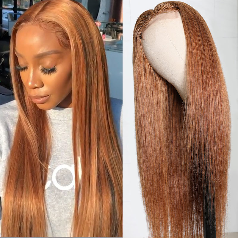 #8 Color Ginger Orange Straight Hair Wigs 18-20 Inch