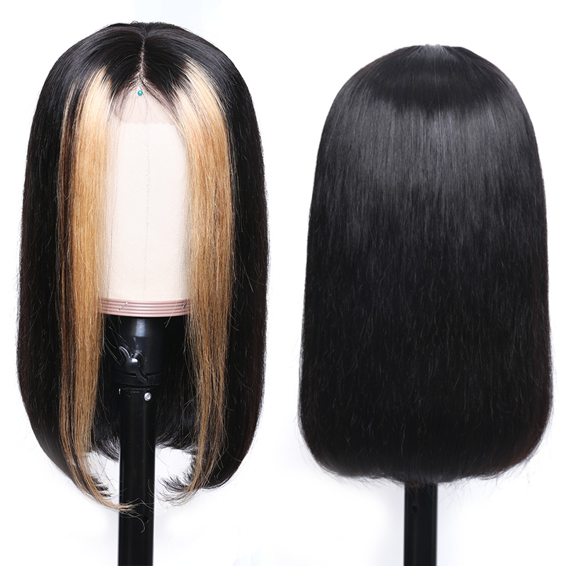 Nadula Lace Front Wig Straight Weave Highlights Color Strawberry Honey Blonde 180% Density 8-24 Inch Wig