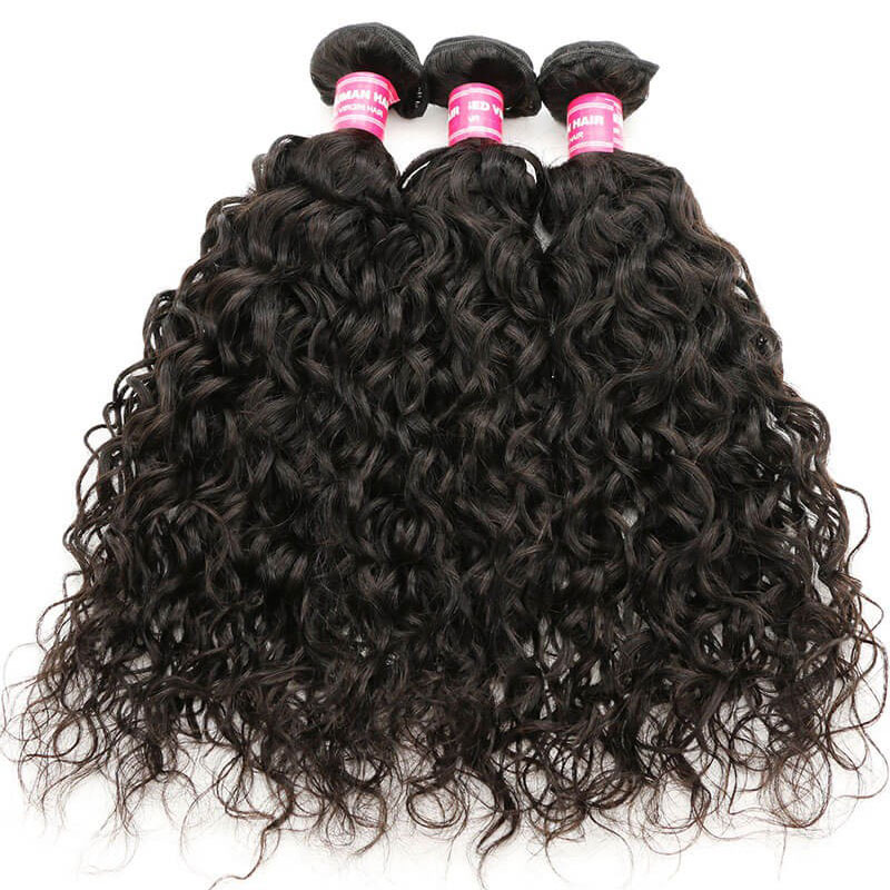 100% Soft Unprocessed Water Wave Virgin Hair Weave 3 Bundles With Lace Closure