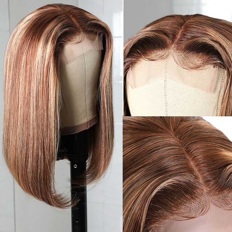 4x0.75 Inch Lace Middle Part Wigs Brown Color Human Hair