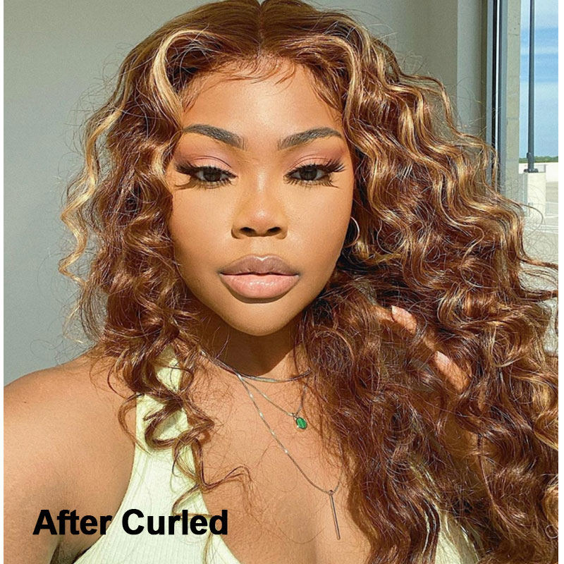 Brown Human Hair Lace Part Wigs After Curled