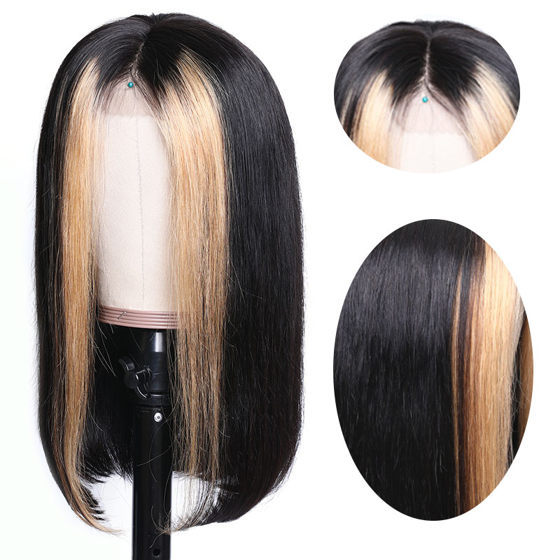 Nadula 13x4 Lace Front Wig Straight Weave Strawberry Honey Blonde Highlights 150% Density Natural Hairline