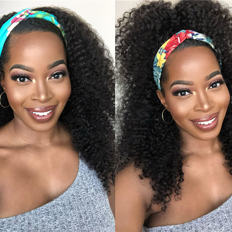 Nadula Afro Curly Hair Half Wig for Black Women 150% Density Kinky Curly 3/4 Half Wig for Sale
