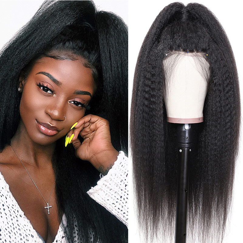 Nadula High Quality Lace Frontal Kinky Straight Pre Plucked With Baby Hair 13*4 Remy Human Hair 130% Density Wigs Soft