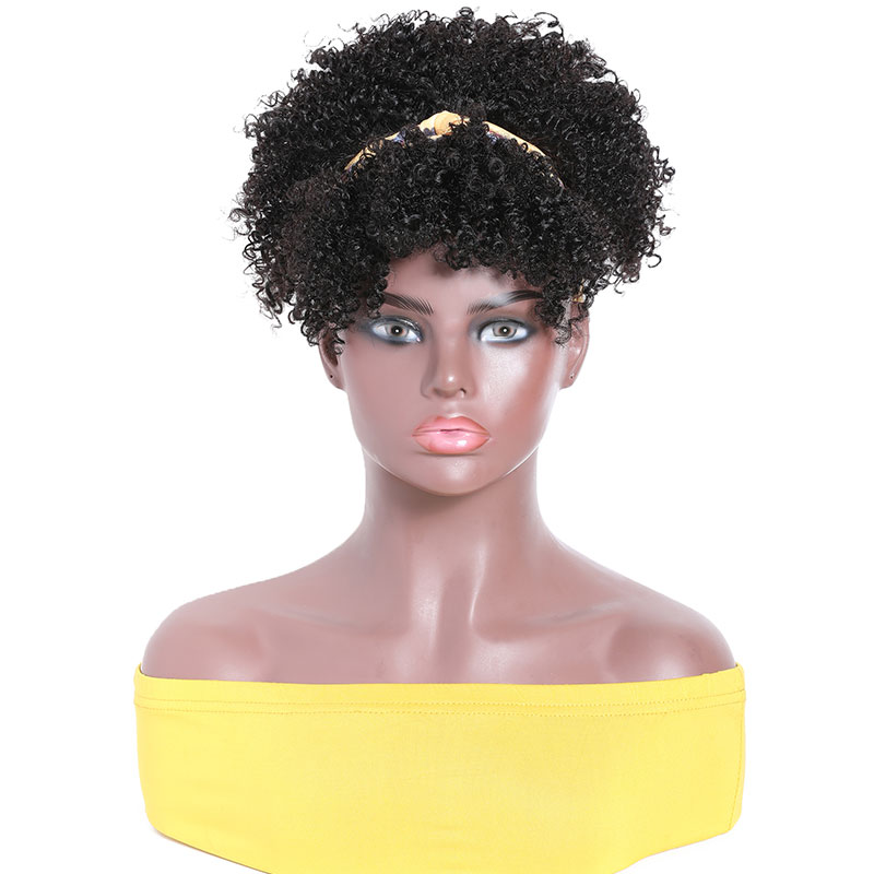 Kinky Curly Human Hair Wigs With Removable Bangs