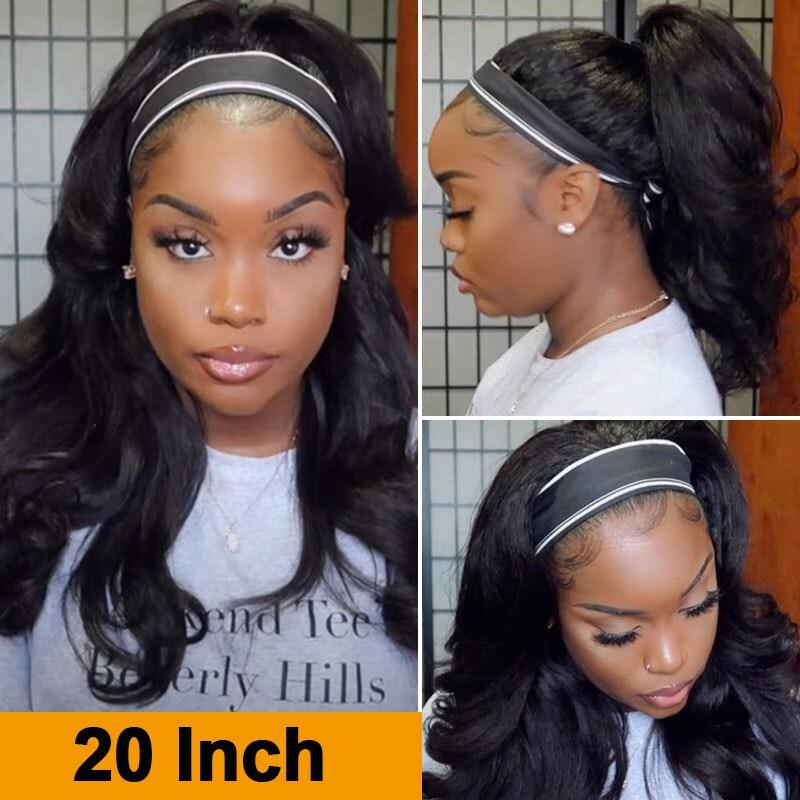 Nadula Kinky Straight Wigs Headband Half Wig Human Hair Wigs Glueless Wig Headband Wigs
