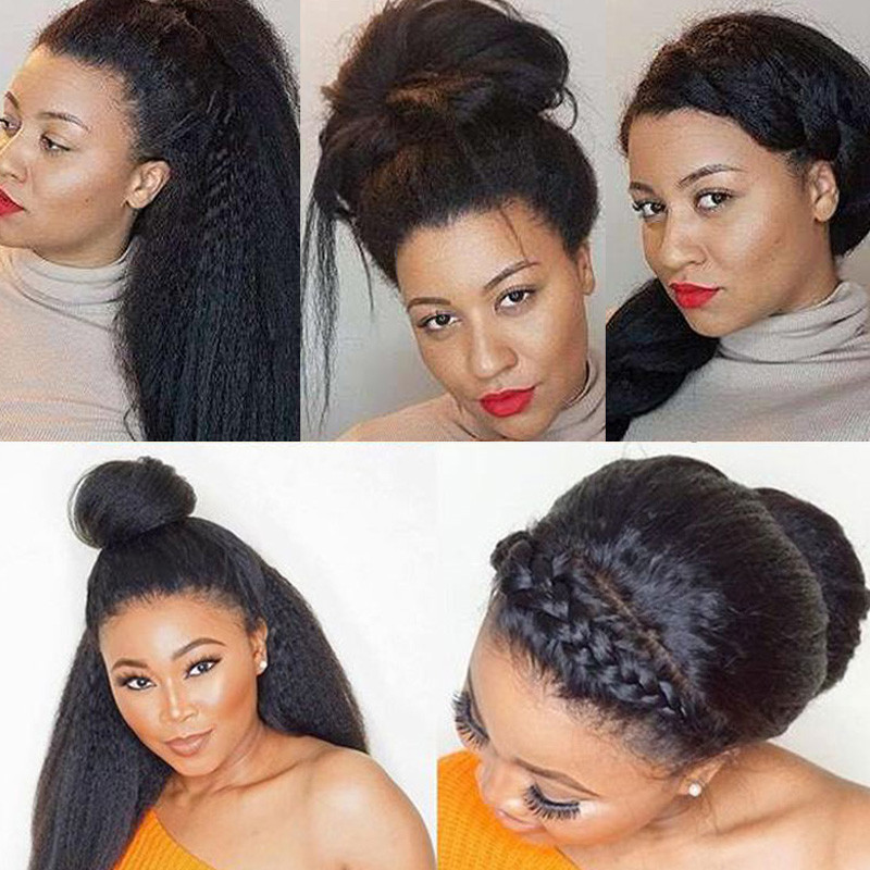 Nadula High Quality Lace Frontal Kinky Straight Pre Plucked With Baby Hair 13*4 Remy Human Hair 130% Density Wigs